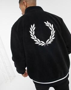 Черная куртка с искусственным мехом и логотипом на спине Fred Perry-Черный цвет