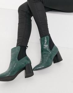 Зеленые ботинки челси с заостренным носком с эффектом крокодиловой кожи London Rebel-Зеленый цвет