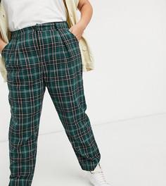 Строгие широкие брюки со складками в клетку зеленого цвета Heartbreak-Зеленый цвет