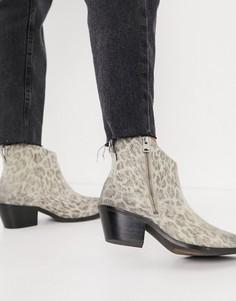 Замшевые ботинки в стиле вестерн светло-коричневого цвета с леопардовым принтом All Saints Carlotta-Многоцветный