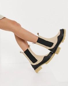 Кожаные ботинки челси премиум-класса кремового цвета на массивной подошве ASOS DESIGN Admire-Кремовый