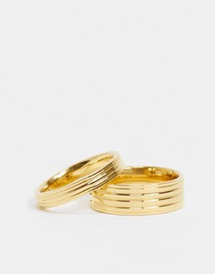 Набор из 2 золотистых колец River Island-Золотистый