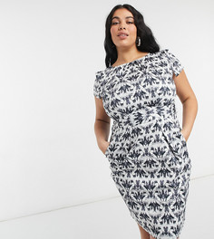 Платье-карандаш длиной до колен с короткими рукавами и черным принтом со стразами Closet London Plus-Многоцветный