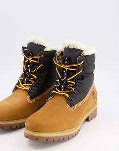 Ботинки высотой шесть дюймов с подкладкой из меха черного и пшеничного цвета Timberland-Светло-коричневый