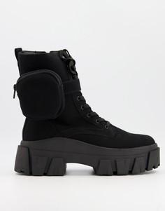Черные высокие ботинки на шнуровке из искусственной замши с массивной подошвой и ремешком ASOS DESIGN-Черный цвет