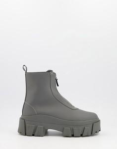 Серые ботинки челси из искусственной кожи серого цвета на толстой подошве с молнией спереди ASOS DESIGN-Серый