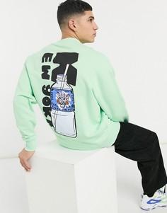 """Oversized-свитшот в интенсивный рубчик, с принтом """"New York"""" на спине ASOS DESIGN-Зеленый цвет"""