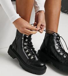 Массивные походные ботинки черного цвета Glamorous Wide Fit-Черный цвет