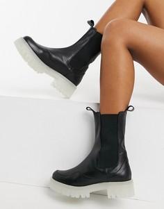 Черные кожаные ботинки челси на массивной подошве с прозрачной отделкой ASOS DESIGN Admire Premium-Черный цвет
