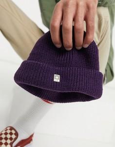 Фиолетовая шапка-бини в мелкий рубчик Obey-Сиреневый