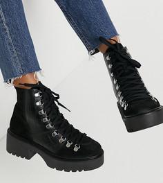 Черные кожаные походные ботинки премиум для широкой стопы ASOS DESIGN Alison-Черный цвет