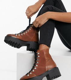 Светло-коричневые кожаные походные ботинки премиум для широкой стопы ASOS DESIGN Alison-Светло-коричневый