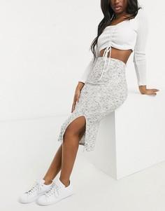 Серая крашеная юбка-карандаш миди в рубчик с разрезом ASOS DESIGN-Серый