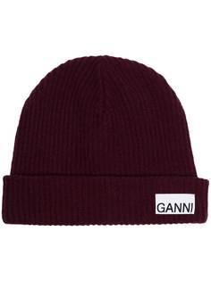 GANNI шапка бини в рубчик с нашивкой-логотипом