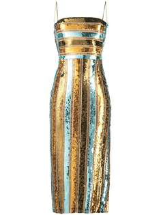 Galvan полосатое платье миди с пайетками