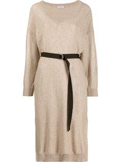 Brunello Cucinelli трикотажное платье с пайетками