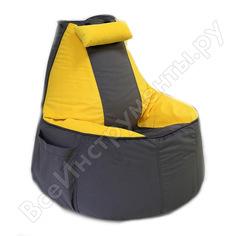 Игровое кресло-мешок mypuff геймер, серо-желтое, мебельная ткань g_472_535