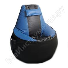 Игровое кресло-мешок mypuff геймер, черно-синее, экокожа g_057_061
