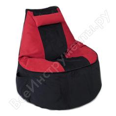 Игровое кресло-мешок mypuff геймер, черно-красное, мебельная ткань g_471_568