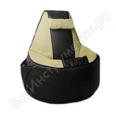 Игровое кресло-мешок mypuff геймер, черно-салатовое, экокожа g_057_060