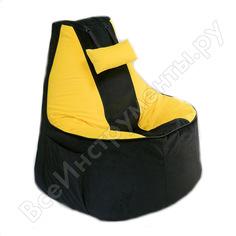 Игровое кресло-мешок mypuff геймер, черно-желтое, мебельная ткань g_471_535