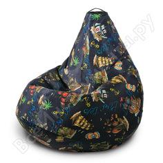 Кресло-мешок mypuff груша, морское приключение, размер стандарт, мебельный хлопок b_555