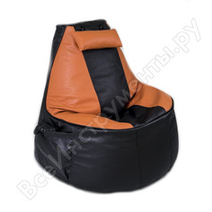 Игровое кресло-мешок mypuff геймер, черно-оранжевое, экокожа g_057_058