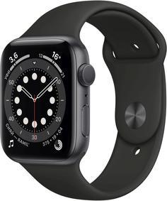 Умные часы Apple Watch Series 6, 44 мм, корпус из алюминия цвета «серый космос», спортивный ремешок