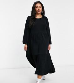 Черное платье макси с пышными рукавами Yours-Черный цвет