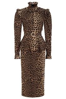 Платье из шелка с леопардовым принтом Alessandra Rich