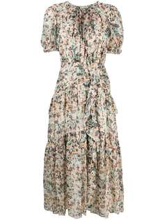 Ulla Johnson ярусное платье миди Delfine с оборками