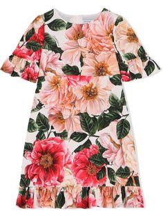 Dolce & Gabbana Kids платье с короткими рукавами и цветочным принтом