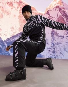 Горнолыжный костюм с вставкой с зебровым принтом ASOS 4505-Черный цвет