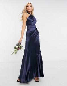 Атласное платье макси с халтером для подружки невесты ASOS DESIGN-Темно-синий