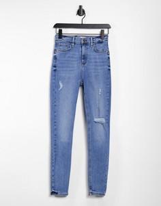 Светло-синие зауженные джинсы с завышенной талией и скульптурирующим эффектом River Island-Голубой