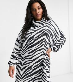 Супермягкое платье мини с длинными рукавами, отворачивающимся воротом и принтом «зебра» ASOS DESIGN Curve-Белый