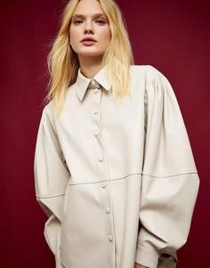 Кремовая рубашка с декоративными швами Topshop IDOL-Кремовый