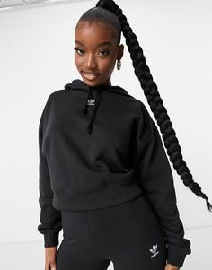 Черный худи с логотипом-трилистником adidas Originals Trefoil Essentials