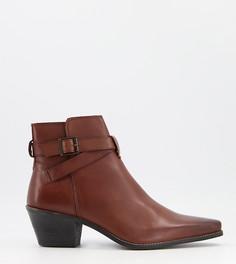 Коричневые кожаные ботинки челси для широкой стопы в стиле вестерн на кубинском каблуке с ремешком ASOS DESIGN-Коричневый цвет