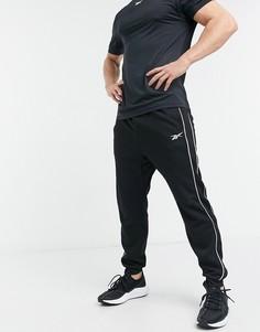 Черные джоггеры с окантовкой Reebok Training-Черный цвет