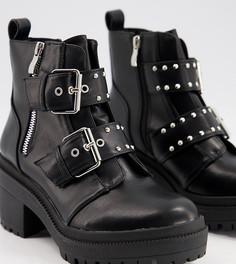 Черные ботинки на массивной подошве с пряжками RAID Wide Fit Saint-Черный цвет