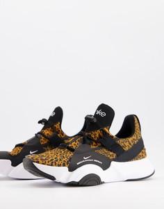 Кроссовки с леопардовым принтом Nike Training SuperRep Groove-Коричневый цвет