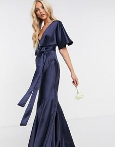 Темно-синее атласное платье макси с рукавами-кимоно, поясом и юбкой клиньями ASOS DESIGN Bridesmaid-Темно-синий