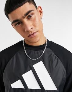Черный свитшот с логотипом с 3 полосками adidas Training-Черный цвет