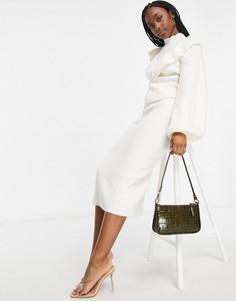 Кремовая юбка с узором «косичка» ASOS DESIGN (от комплекта)-Коричневый цвет
