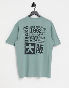 Зеленая футболка с принтом «Osaka 92» спереди и сзади Topman-Зеленый цвет