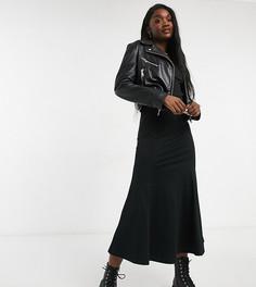 Черное облегающее платье миди с юбкой годе и V-образным вырезом ASOS DESIGN Tall-Черный цвет