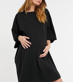 Черное платье-футболка в стиле oversized ASOS DESIGN Maternity-Черный цвет