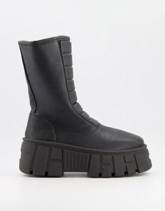 Черные ботинки на массивной подошве с утеплителем ASOS DESIGN Acre-Черный цвет