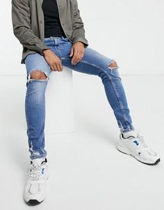 Синие супероблегающие джинсы с рваной отделкой Bershka-Синий